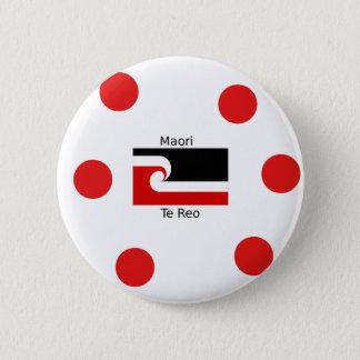 Bóton Redondo 5.08cm Língua de Te Reo e design maori da bandeira