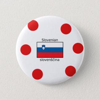 Bóton Redondo 5.08cm Língua e design eslovenos da bandeira de Slovenia