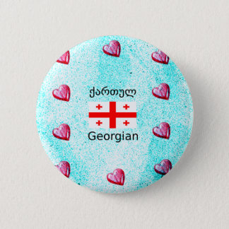 Bóton Redondo 5.08cm Língua e design Georgian da bandeira