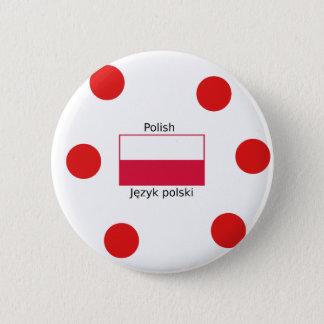Bóton Redondo 5.08cm Língua e design poloneses da bandeira do Polônia