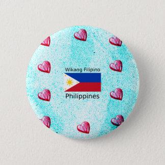 Bóton Redondo 5.08cm Língua filipina de Wikang e bandeira de Filipinas