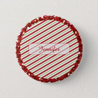 Bóton Redondo 5.08cm Listra branca verde vermelha botão personalizado
