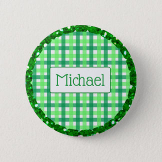 Bóton Redondo 5.08cm Listra verde e branca botão personalizado do Xmas