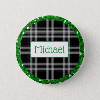 Bóton Redondo 5.08cm Listra verde e preta botão personalizado do Xmas