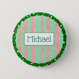 Bóton Redondo 5.08cm Listra verde e vermelha botão personalizado do