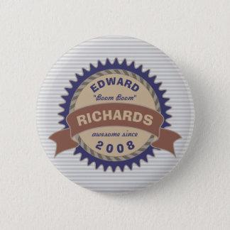 Bóton Redondo 5.08cm Listras do logotipo das cinzas azuis de Brown do