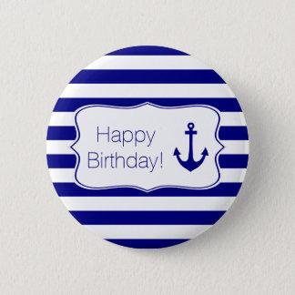 Bóton Redondo 5.08cm Listras do marinho e festa de aniversário náutica
