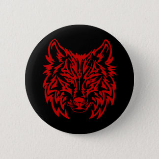 Bóton Redondo 5.08cm Lobo vermelho tribal