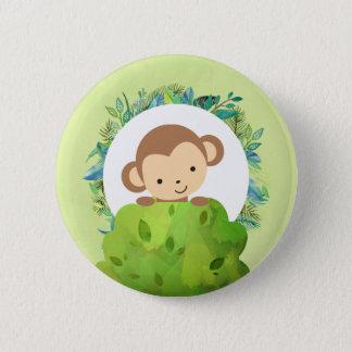 Bóton Redondo 5.08cm Macaco bonito do safari com folhas tropicais