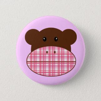 Bóton Redondo 5.08cm Macaco cor-de-rosa da peúga da xadrez - botão