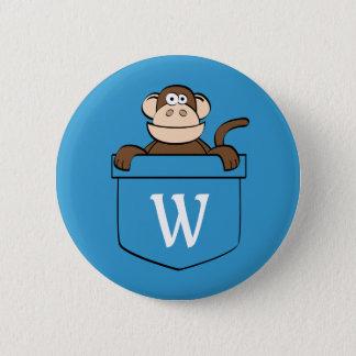Bóton Redondo 5.08cm Macaco engraçado em um bolso Monogrammed