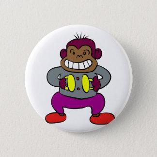 Bóton Redondo 5.08cm Macaco retro com brinquedo dos pratos