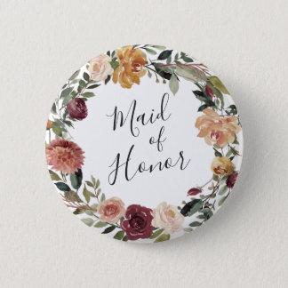 Bóton Redondo 5.08cm Madrinha de casamento rústica da flor