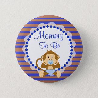 Bóton Redondo 5.08cm Mamã a ser botão azul e de Brown do macaco do chá