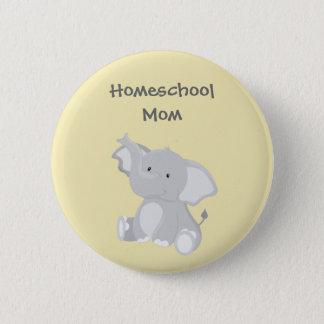 Bóton Redondo 5.08cm Mamã de Homeschool do elefante