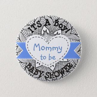 Bóton Redondo 5.08cm Mamã listrada azul do botão do chá de fraldas a