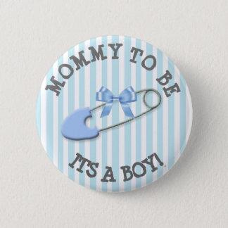 Bóton Redondo 5.08cm Mamães a ser chá de fraldas listrado azul do Pin