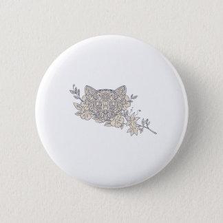 Bóton Redondo 5.08cm Mandala principal da flor do jasmim do gato