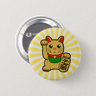 Bóton Redondo 5.08cm Maneki Neko: Gato afortunado dourado
