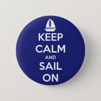 Bóton Redondo 5.08cm Mantenha a calma e navegue no botão azul de