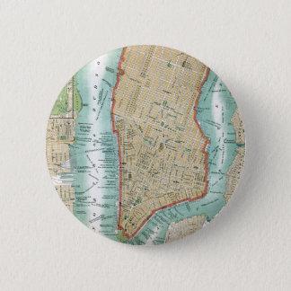 Bóton Redondo 5.08cm Mapa antigo do Lower Manhattan e do Central Park