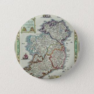 Bóton Redondo 5.08cm Mapa de Ireland - mapa histórico de Eire Erin do