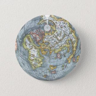 Bóton Redondo 5.08cm Mapa do mundo antigo dado forma coração Peter do