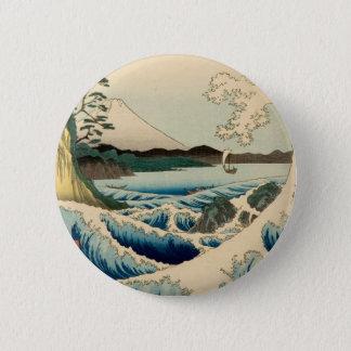 Bóton Redondo 5.08cm Mar japonês da arte da pintura do impressão de
