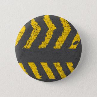 Bóton Redondo 5.08cm Marcação de estrada amarela afligida Grunge