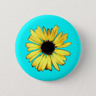 Bóton Redondo 5.08cm Margarida amarela artística do Gerbera