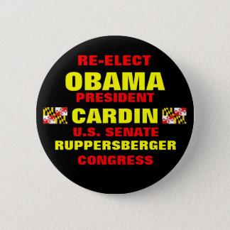 Bóton Redondo 5.08cm Maryland para Obama Cardin Ruppersberger