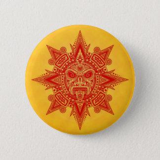 Bóton Redondo 5.08cm Máscara asteca de Sun - vermelho e amarelo