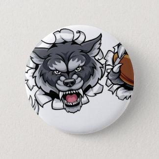 Bóton Redondo 5.08cm Mascote do futebol americano do lobo que quebra o