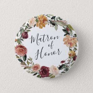 Bóton Redondo 5.08cm Matrona rústica da flor da honra