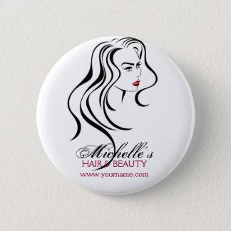 Bóton Redondo 5.08cm Menina bonita com ícone do cabelo ondulado e da