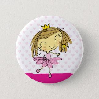 Bóton Redondo 5.08cm Menina cor-de-rosa bonito da princesa Balé