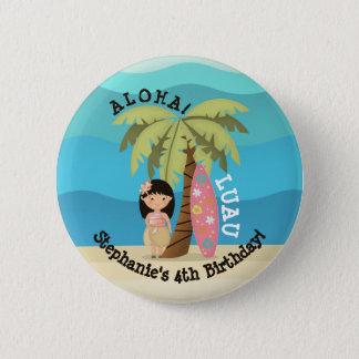 Bóton Redondo 5.08cm Menina havaiana do surfista