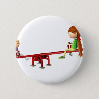 Bóton Redondo 5.08cm Meninas dos desenhos animados em um balanço