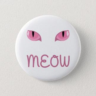 Bóton Redondo 5.08cm Meow com crachá cor-de-rosa dos olhos de gatos