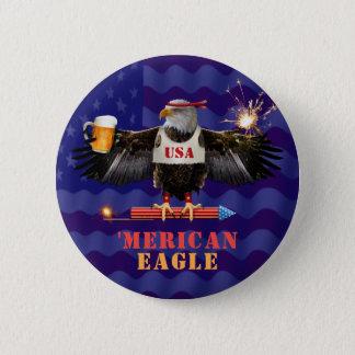 Bóton Redondo 5.08cm Merican engraçado Eagle 4o da cerveja e dos