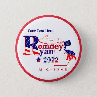 Bóton Redondo 5.08cm Michigan Romney e botão de Ryan 2012 - personalize