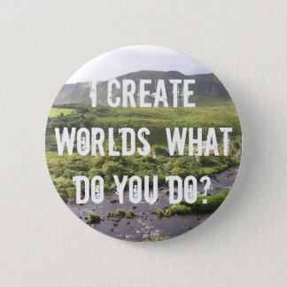 Bóton Redondo 5.08cm Mim cria mundos, que você faz? Botão