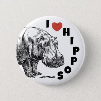 Bóton Redondo 5.08cm Mim hipopótamos do coração - pino dos amantes e
