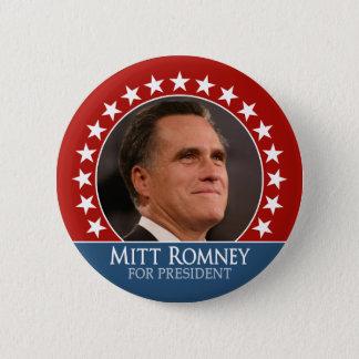 Bóton Redondo 5.08cm Mitt Romney 2012 - pinback da foto com estrelas -