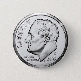 Bóton Redondo 5.08cm Moeda de dez centavos de Roosevelt