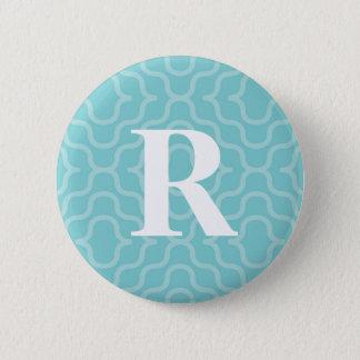 Bóton Redondo 5.08cm Monograma contemporâneo ornamentado - letra R