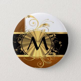 Bóton Redondo 5.08cm Monograma de cobre do preto e do ouro