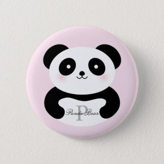 Bóton Redondo 5.08cm Monograma feminino bonito do urso de panda do bebê