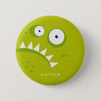 Bóton Redondo 5.08cm Monstro verde assustador engraçado irritado