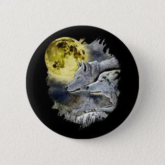 Bóton Redondo 5.08cm Montanha da lua do lobo da fantasia